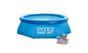 Бассейн с надувным верхним кольцом 244х76см + фильтр-насос Intex 28112