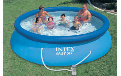 Надувной бассейн с надувным верхним кольцом 457х84см + фильтр-насос Intex 28158